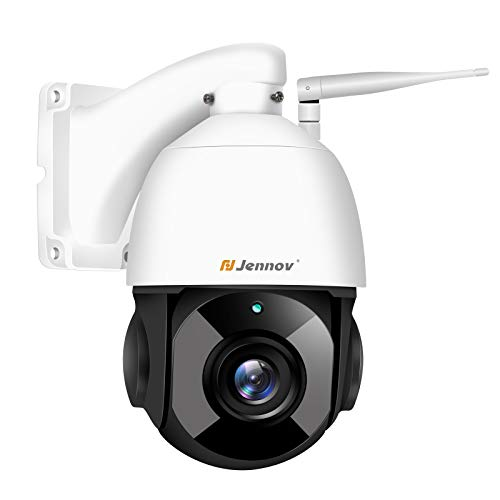 Jennov 5MP PTZ Überwachungskamera 30x Fach Digitaler Zoom Super HD WLAN IP Kamera 355° schwenkbar 90° neigbar Zweiwege-Audio 60m Nachtsicht IP66 APP Fernzugriff Bewegungserkennung mit 64GB TF-Karte
