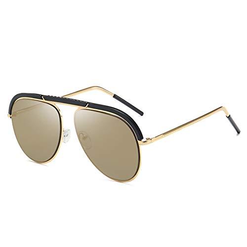 YIERJIU Gafas de Sol Las últimas Gafas de Sol Elegantes del Ojo de Gato de Las señoras del piloto Mujeres Hombres Gafas de Sol de diseñador de Marca Sombras de la Vendimia,C6 Gold