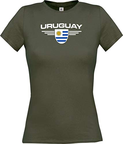 Camiseta de mujer Uruguay, escudo con nombre y número personalizado gris M