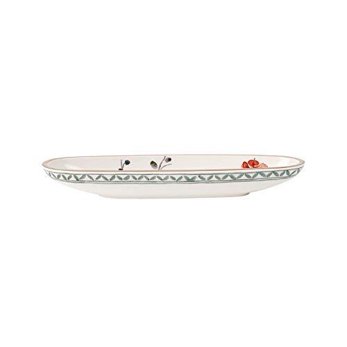 Villeroy & Boch - Artesano Provençal Verdure Olivenschale, Schale für Anti-Pasti mit französischem Flair, Premium Porzellan, weiß, 28 x 8 cm