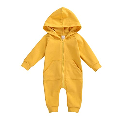 Infant Baby Boys Girls Zipper Warm Hooded Romper Jumpsuit Solid Long Sleeve Bodysuit Outfit Fall Winter Clothes (A-Yellow, 6-12M)