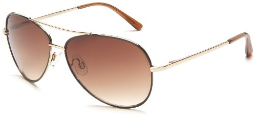 Andrea Jovine Women's A685 Sunglasses, Gold and Brown Frame/Gradient Brown Lens, 59 mm