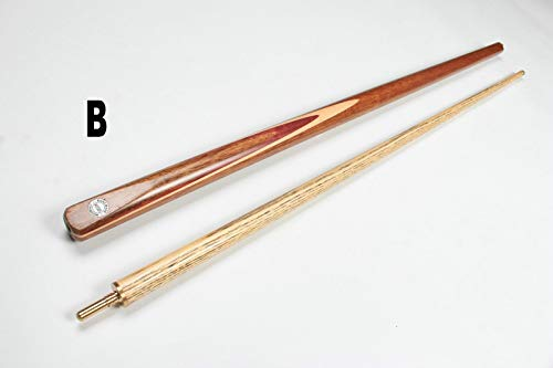 WOODS CUES 1/2 Matching ASH Grain 57 inches 2-Piece Snooker/Pool CUE Stick and Leather Case with Shoulder Strap (one cue only, B)