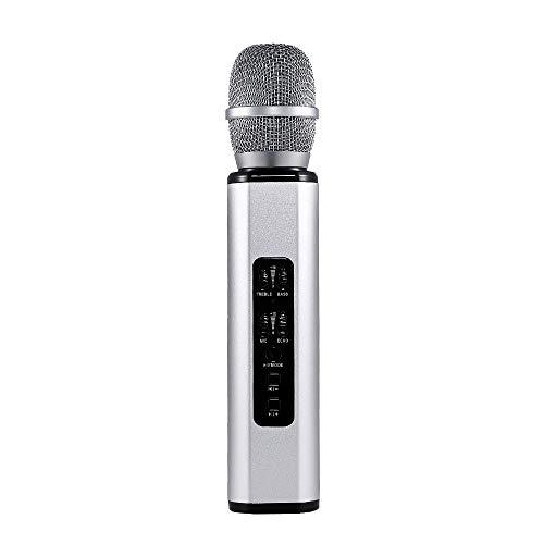 Draadloze microfoon, Bluetooth, handmicrofoon, draadloze karaoke voor Android/iPhone, thuis, KTV Outdoor Party Muisc Spelen Zingen altijd zilver-grijs