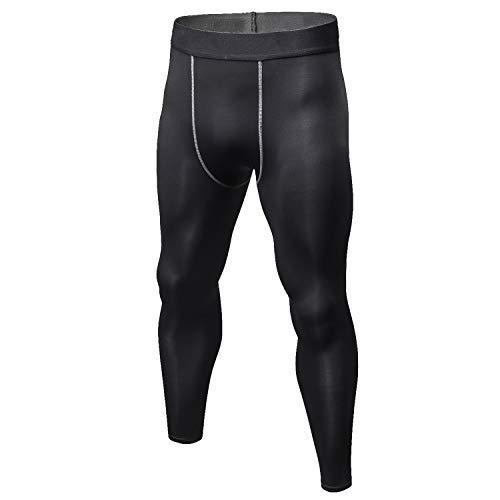 Sillictor スポーツタイツ メンズ 冬用 裏起毛 ロング アンダーウェア コンプレッション タイツ [保温防寒 + 吸汗速乾] yc1022ブラック M