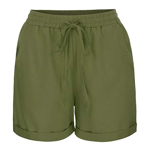 UFODB Damen Shorts Sport Casual Cotton Linen Yoga Fitness Taschen Kurze Yogahose Bequem Sporthose Sommerhosen Leggings Fitnesshosen Mit Kordelzug Strandhosen