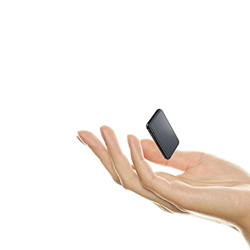 Auskang Power Bank 5000mAh Ultra Slim Externer Akku mit Port USB-C, Micro USB und USB A, Mini Deluxe Aluminiumgehäuse Powerbank Kompatibel mit iPhone Samsung Tablets Kamera und mehr (115g)