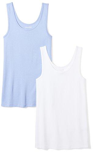 Amazon Essentials Women's 2-Pack Slim-Fit Tank, Purple/White, Large