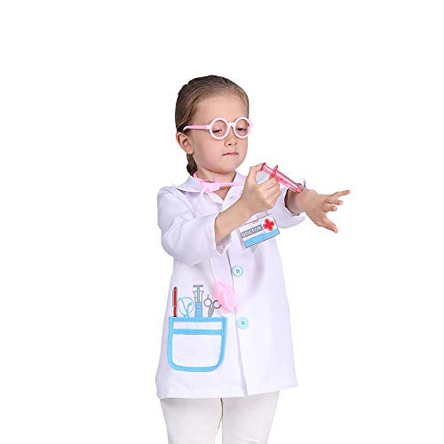 Doctor Lab Coat Role Play Costume Pretend Play Jacket for Toddler,Doctor Dress Up Outfit for Birthday Gift(3-4years)