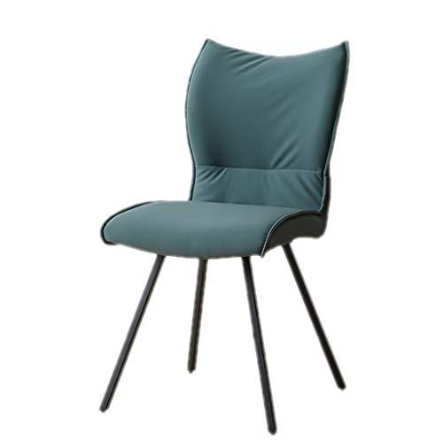 Sedia da Ristorante Sedia da Pranzo per la casa Sedia Comoda per Il Tempo Libero Tavolo da Pranzo e Sedia in Ferro battuto Sedia da Pranzo in Tessuto (Color : Blue, Size : 44 * 42 * 86cm)