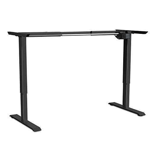 EleTab Electric Standing Desk Frame — Electric Single Motor Height Adjustable Ergonomic Sit Stand Desk Legs Workstation Base (Black Frame Only)