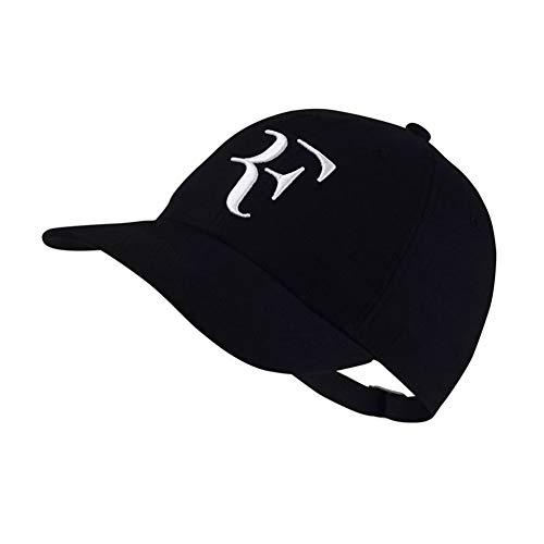 Nanyin Tennisstar Roger Federer Vater Hut Sport Baseball Cap 100% Baumwolle 3D Stickerei Unisex Snapback Cap Tennis Cap F Hut (Color : Black, Size : One Size)