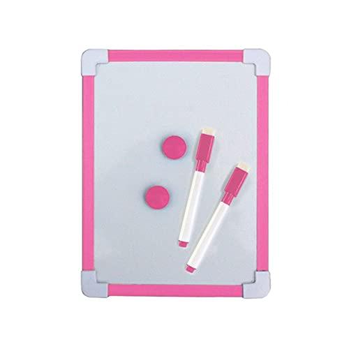 20.5 * 15.6cm Pizarra Blanca magnética para niños Tablero de Limpieza en seco Marco de 5 Colores Tablero Blanco de Dibujo pequeño Tableros de borrado Colgantes pequeños con bolígrafo - Rosa