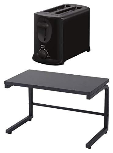 [山善] ポップアップトースター 焼色調節 2枚焼き 開閉式底ふた 6枚切り 8枚切り ブラック YUA-801(B) [メーカー保証1年] + 山善 レンジ上ラック 幅40×奥行22×高さ25cm 熱・水に強い アジャスター付き 組立品 ブラック RKS-4022(BK)