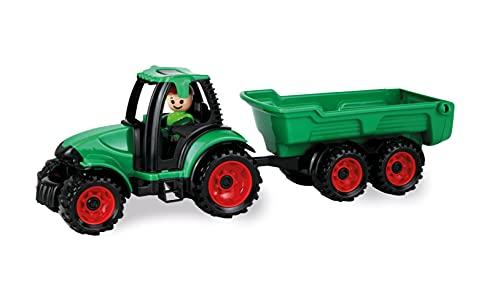 Lena 1625 Truckies Traktor mit Anhänger, stabiles Traktorset ca. 38 cm, Spielfahrzeug Set mit Trecker und Hänger für Kinder ab 2 Jahre, Robustes Spielset für Sandkasten, Strand und Kinderzimmer