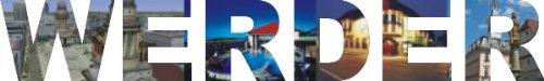 PEMA INDIGOS UG - Wandtattoo Wandsticker Wandaufkleber - Aufkleber farbige Wandschrift Städtename Städtename Werder mit Sehenswürdigkeiten 180 x 27 cm Länge