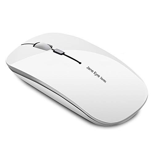 Q5 Ratón Inalámbrico Recargable, Mouse Wireless 2.4G Mute de Mouse Inalambrico, Ultra Delgado,1600 dpi Ajustable para Portatil/Computadora/Windows/Linux/Vista/PC/Mac (Blanco)