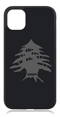 Kompatibel mit iPhone 11 Libanon Karte Flagge Fahne Mattschwarz Schwarz Handyhülle Case Cover Hülle Silikon