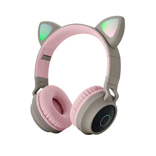 YAOUFBZ The New Cat Ear Headphones,Rechargeable Foldable Bluetooth Gaming Headset With Mic And LED Light Glowing,Gift For Kids And Adult