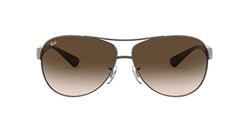 Ray-Ban Unisex RB3386 Sonnenbrille, Mehrfarbig (Gestell: Gunmetal/Schwarz, Gläser: Braun Verlauf 004/13), X-Large (Herstellergröße: 63)