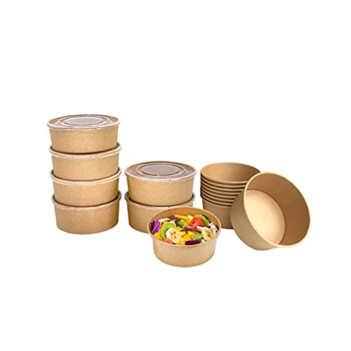 Canaan [60 Packs] Paper Bowls with Lids Salad Bowls Disposable Food Containers Hot Or Cold Dish To Go Packaging Great For Take Outs (50oz 60Pack, Kraft)