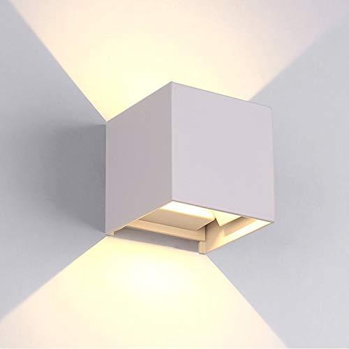 tvfly 12W Wandleuchte Innen/Außen Modern, Außenleuchten IP65 LED Wandbeleuchtung Up-und Downlight, Mit Einstellbar Abstrahlwinkel Design, 3000K Warmweiß Weiß, Aluminium, 12 W