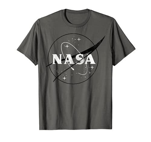 NASA Black And White Simple Logo Graphic T-Shirt