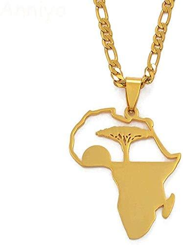 banbeitaotao Collar Árbol Africano & ampSunrise Collares Pendientes para Hombres Mujeres Niñas Mi hogar en África Joyería Collar de Regalo de cumpleaños de Color Dorado