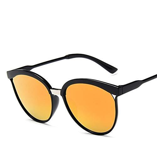 PPLAX El diseñador Retro súper Cuadro Redondo del círculo de los vidrios del Ojo de Gato de los Hombres Gafas de Sol Gafas de los vidrios del Conductor Completo (Color : Red)