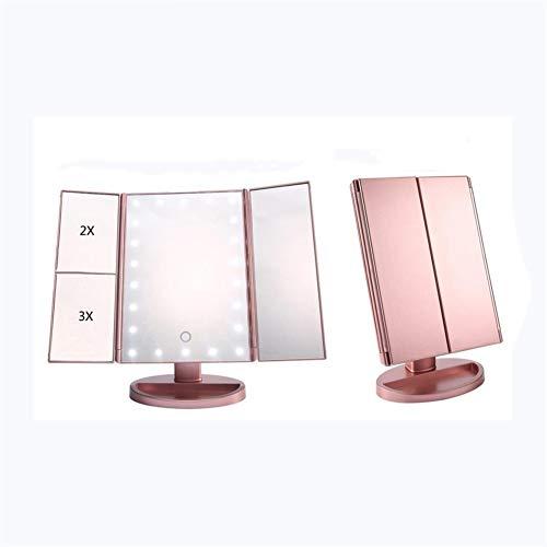 Espejo De Maquillaje LED De Escritorio De Tres Pliegues, Atenuación Táctil En Ambos Lados Del Plano/Con Lupa 2x3x (Oro rosa)