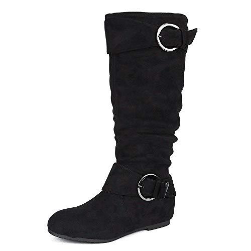 DREAM PAIRS Women's URA Black Suede Knee High Low Hidden Wedge Boots Wide Calf Size 9.5 M US