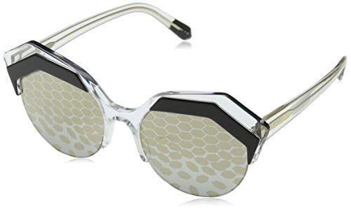 Bulgari Damen 0BV8203 569/T9 53 Sonnenbrille, Schwarz (Top Black On Crystal/Greyprintedmirrorsilver)