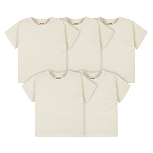 Gerber Baby Toddler 5-Pack Solid Short Sleeve T-Shirts Jersey 160 GSM, Natural, 12 Months