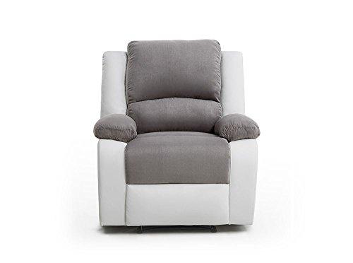 Loungitude Fauteuil de relaxation en PU blanc et microfibre grise