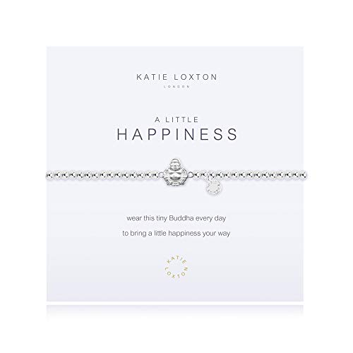 Katie Loxton A Little Happiness Buddha Silver Women's One Size Stretch Charm Bangle Bracelet
