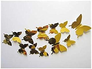 12 pcs Decal Butterflies 3D Mirror Wall Stickers Wall Art Home Decors (Gold)