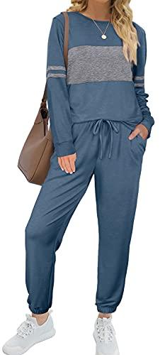 Women 2 Piece Color Block Sweatsuits Sets with Drawstring Pants Blue Jumpsuit S