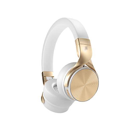 Binn Auriculares de Música Auriculares Sobreoríperos Bluetooth Auriculares Plegables Bluetooth Cancelación de Ruido Modo con Cable 48H Playtime Protein Earpad Mic Integrado Headphones (Color : White)