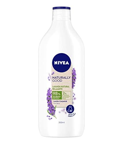 NIVEA Naturally Good Loción Corporal Relajante Lavanda Natural (1 x 350 ml), crema corporal con un 98% de ingredientes naturales, hidrata la piel seca durante 48 horas