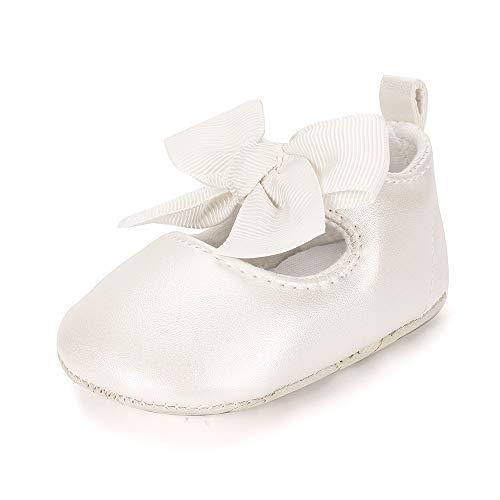 ESTAMICO Baby Mädchen rutschfest Weiche Leder Bowknot Taufschuhe Kleinkind Sneaker, 3-6 Monate ( hersteller größe: 1 ),  Beige