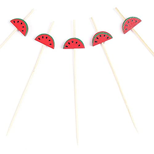 DUO ER 100 unids/Paquete Vajilla 120 mm patrón de sandía roja Bebo de bambú Picks Fruit Skewer Sticks