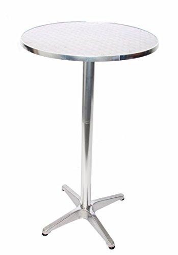 Mendler Alu-Stehtisch + Bistrotisch, höhenverstellbar 70/110cm, Ø=60cm ~ Basismodell