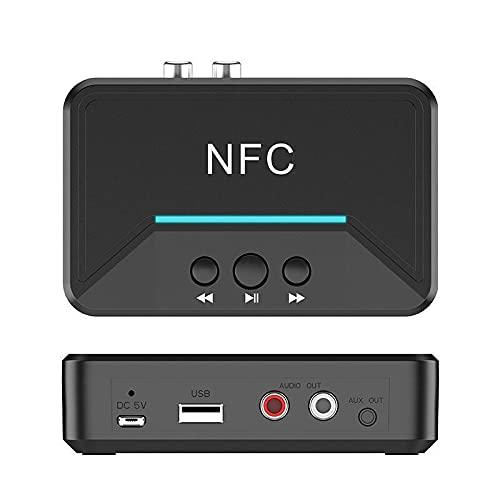 Adaptateur Bluetooth USB sans Fil Bluetooth 5.0 Récepteur de Musique NFC RCA 3,5 mm AUX Adaptateur Audio Stéréo USB pour PC/TV/Tablette/Haut-parleurs/Système Audio de Voiture
