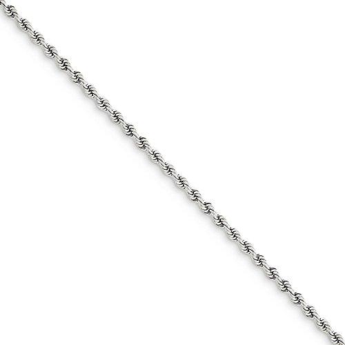 14k oro bianco 2,25 millimetri regolare corda collana