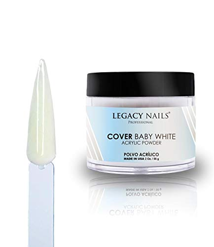 Legacy Nails Cover Acrylic Powder in Peach, Rose, Nude, White & Pink 2oz (Baby White)