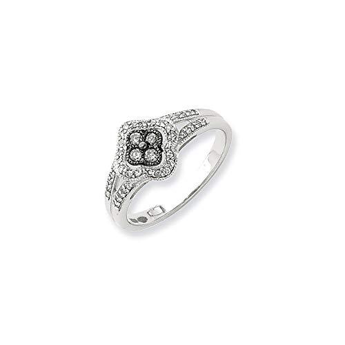 Plata de ley de blanco y negro anillo de diamantes en bruto - tamaño N 1/2 - JewelryWeb