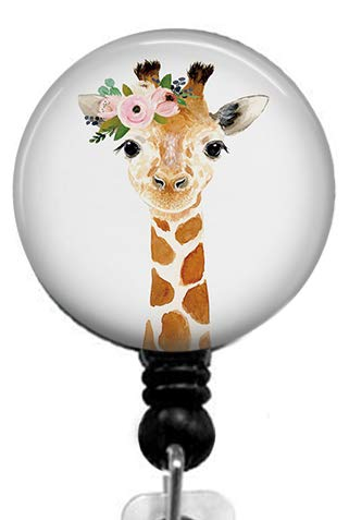 Cute Giraffe Badge Reel,Retractable Name Card Badge Holder with Alligator Clip, Medical MD RN Nurse Badge ID, Badge Holder, Office Employee Name Badge