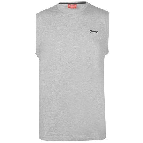 Slazenger Herren Aermellos T Shirt Tank Top Rundhals Muskelshirt Baumwolle L