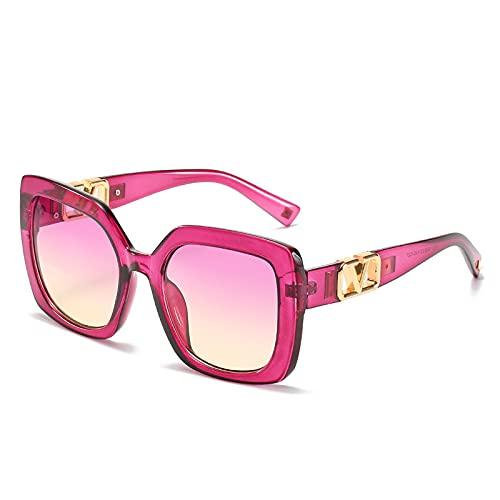 2021 Gafas De Sol Cuadradas De Marco Grande Mujeres De Lujo Diseñador De La Marca De Lujo Eyeaglass De Gran Tamaño Vintage Gradient Lenes Sun Glasses UV400 (Lenses Color : Purple)