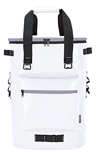 KOOZIE Olympus Insulated Cooler Backpack | Keeps Cold for 30 Hours | Large 36 Can Soft Sided Cooler Bag with Tough Tarpaulin Outer Shell for Hiking, Fishing, Camping, Picnic, Beach, Travel | White